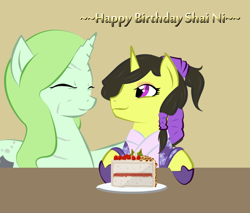 Size: 900x766 | Tagged: safe, artist:askmerriweatherauthor, oc, oc only, oc:merriweather, oc:shai ni, pony, unicorn, ask merriweather, cake, female, food, mare, scar