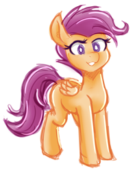 Size: 750x950 | Tagged: safe, artist:jovalic, scootaloo, pegasus, colored, sketch, solo