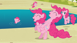 Size: 1366x768 | Tagged: safe, screencap, pinkie pie, earth pony, pony, too many pinkie pies, cute, female, happy, mare, pond, ponies riding ponies, riding, water, wet mane