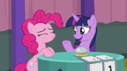 Size: 1920x1080 | Tagged: safe, screencap, pinkie pie, twilight sparkle, alicorn, a trivial pursuit, spoiler:s09e16, bell, twilight sparkle (alicorn)