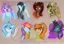 Size: 1280x896 | Tagged: safe, artist:elbdot, princess luna, rainbow dash, oc, oc:casy, oc:casy nuf, oc:coffee talk, oc:frigid drift, oc:ickle muse, oc:laura the zony, oc:tootie frootie, earth pony, pegasus, pony, female, mare, pirate dash