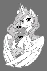Size: 840x1280 | Tagged: safe, artist:dstears, princess celestia, princess luna, alicorn, pony, bust, gray background, grayscale, manga style, monochrome, portrait, simple background, smiling, solo, toy