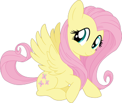 Size: 7073x6000 | Tagged: safe, artist:pink1ejack, kotobukiya, fluttershy, pegasus, pony, absurd resolution, cute, female, kotobukiya fluttershy, looking at you, mare, shyabetes, simple background, sitting, smiling, solo, spread wings, three quarter view, transparent background, vector, wings