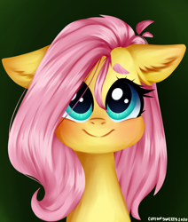 Size: 1416x1672 | Tagged: safe, artist:cottonsweets, fluttershy, pegasus, pony, baby face, blushing, bust, chubby cheeks, cute, ear fluff, female, floppy ears, fluffy, full face view, green background, looking at you, mare, painting, portrait, shyabetes, simple background, smiling, solo, stray strand, wide eyes
