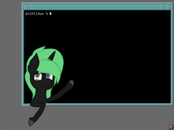 Size: 4096x3072   Tagged: safe, alternate version, artist:terminalhash, oc, oc:terminalhash, pony, unicorn, linux, terminal, vector