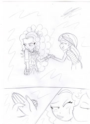 Size: 1280x1762 | Tagged: safe, artist:crock2121, adagio dazzle, sunset shimmer, human, equestria girls, blushing, duo, female, holding hands, kiss on the cheek, kissing, lesbian, shipping, sleeveless, sunsagio, traditional art
