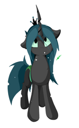 Size: 1456x2336 | Tagged: safe, artist:groomlake, queen chrysalis, changeling, changeling queen, colored, curved horn, cute, cutealis, female, horn, looking up, love, silly, simple, simple background, solo, spots