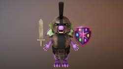 Size: 1920x1080 | Tagged: safe, artist:kaiden jackson, spike, dragon, 3d, 3d model, armor, maya, mudbox, shield, winged spike, wooden sword