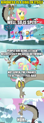 Size: 500x1406 | Tagged: safe, edit, edited screencap, screencap, applejack, discord, fluttershy, pinkie pie, rainbow dash, rarity, twilight sparkle, unicorn, keep calm and flutter on, apple, apple tree, big crown thingy, caption, comic, element of magic, ice, image macro, jewelry, meta, regalia, screencap comic, snow, text, tree, twitter, unicorn twilight, winter