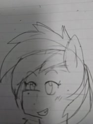 Size: 1080x1440 | Tagged: safe, artist:omegapony16, oc, oc only, pony, grin, lineart, lined paper, smiling, solo, traditional art