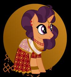 Size: 1280x1391   Tagged: safe, artist:tenderrain46, saffron masala, pony, clothes, dress, solo