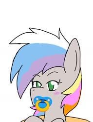 Size: 1219x1597 | Tagged: safe, alternate version, artist:omegapony16, oc, oc only, earth pony, pony, blushing, cropped, multicolored hair, pacifier, rainbow hair, simple background, solo, white background