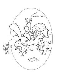 Size: 2186x2743 | Tagged: safe, alternate version, artist:lucas_gaxiola, angel bunny, fluttershy, bird, pegasus, pony, rabbit, animal, cloud, female, lineart, looking up, mare, monochrome, on a cloud, on back, raised leg
