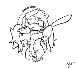 Size: 1584x1412 | Tagged: safe, artist:lucas_gaxiola, oc, oc:charmed clover, anthro, unguligrade anthro, bridal carry, carrying, female, lineart, looking at each other, male, monochrome, oc x oc, shipping, signature, smiling, text