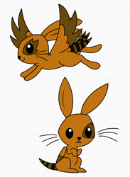 Size: 889x1213 | Tagged: safe, artist:chili19, oc, oc only, hybrid, rabbit, animal, duo, wings