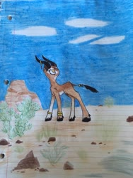 Size: 4032x3024 | Tagged: safe, oc, oc only, gazelle, pony, art, colored, colored pencil drawing, concept, concept art, desert, lined paper, traditional art