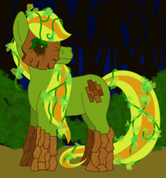 Size: 1344x1435 | Tagged: safe, artist:chili19, oc, oc only, dryad, original species, bush, female, forest, looking back, mare, solo, vine