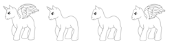 Size: 5015x1301   Tagged: safe, artist:chili19, oc, oc only, alicorn, earth pony, pegasus, pony, unicorn, alicorn oc, base, lineart, monochrome, simple background, transparent background