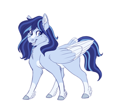 Size: 1700x1500   Tagged: safe, artist:uunicornicc, oc, oc only, oc:azure, pegasus, pony, blaze (coat marking), coat markings, facial markings, feathered fetlocks, female, mare, pale belly, simple background, socks (coat markings), solo, tail feathers, two toned wings, white background, wings
