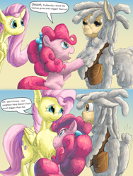 Size: 1188x1584 | Tagged: safe, artist:firefanatic, fluttershy, pinkie pie, earth pony, llama, pegasus, pony, :3, alternate design, bow, chest fluff, cute, digital art, dreadlocks, long mane, satchel, size difference, smiling, surprised, tallershy