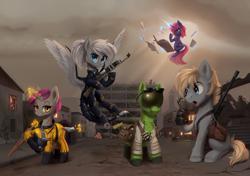 Size: 2134x1499 | Tagged: safe, artist:vincher, alicorn, earth pony, pegasus, pony, unicorn, fallout equestria, hazmat suit, knife, laser musket, ripper (weapon)