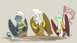 Size: 1920x1080 | Tagged: safe, artist:sinrar, gabby, gilda, greta, griffon, cheering, chef's hat, cooking, cute, flag, flour, hat, simple background, sketch, spoon, table, tan background