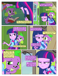 Size: 612x792 | Tagged: safe, artist:greatdinn, artist:newbiespud, edit, edited screencap, screencap, spike, twilight sparkle, dog, comic:friendship is dragons, equestria girls, equestria girls (movie), backpack, book, clothes, collaboration, collar, comic, cutie mark, cutie mark on clothes, dialogue, female, frown, locker, male, sad, screencap comic, spike the dog, spiked collar, unamused