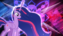 Size: 5120x2880 | Tagged: safe, artist:andoanimalia, artist:laszlvfx, edit, twilight sparkle, alicorn, spoiler:s09e26, cutie mark, female, mare, older, older twilight, princess twilight 2.0, smiling, solo, twilight sparkle (alicorn), wallpaper, wallpaper edit