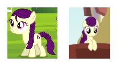 Size: 822x447 | Tagged: safe, artist:jaredking203, boysenberry, the last problem, twilight time, spoiler:s09e26, comparison, female, filly, mare, older, older boysenberry, simple background, white background