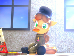 Size: 1052x801   Tagged: source needed, safe, artist:urgent coffee, oc, oc:lina, earth pony, pony, 3d, boots, clothes, eating, food, hat, indoors, italian, looking at you, pizza, shoes, source filmmaker, uniform