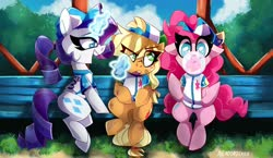Size: 2048x1191 | Tagged: safe, artist:nekosnicker, applejack, pinkie pie, rarity, earth pony, pony, unicorn, baseball, baseball cap, baseball jersey, bench, bubblegum, cap, clothes, eye clipping through hair, female, food, gum, hat, jersey, magic, mare, part of a set, scenery, sitting, smiling, sports, telekinesis, trio