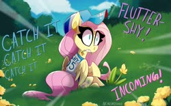 Size: 2048x1269 | Tagged: safe, artist:nekosnicker, fluttershy, pegasus, pony, baseball, baseball cap, baseball jersey, cap, clothes, dialogue, female, flower, flower in mouth, grass, grazing, hat, horses doing horse things, jersey, mare, mouth hold, part of a set, scenery, solo, sports, this will end in pain, throwing things at fluttershy