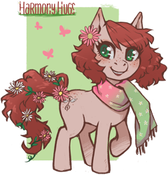 Size: 2786x2904 | Tagged: safe, artist:taytinabelle, derpibooru exclusive, oc, oc only, oc:harmony hugs, earth pony, pony, blushing, clothes, cute, female, flower, flower in hair, flower in tail, freckles, green background, green eyes, heart eyes, looking at you, mare, raised hoof, red hair, scarf, secret santa, simple background, solo, spring, transparent background, wingding eyes