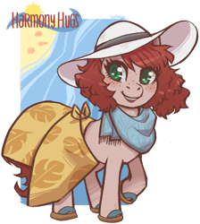 Size: 2746x3060 | Tagged: safe, artist:taytinabelle, derpibooru exclusive, oc, oc only, oc:harmony hugs, earth pony, pony, beach towel, blushing, clothes, cute, female, flip-flops, freckles, green eyes, hat, heart eyes, looking at you, mare, raised hoof, red hair, sandals, scarf, secret santa, shoes, simple background, skirt, smiling, solo, summer, sun hat, towel around waist, transparent background, wingding eyes