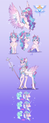 Size: 2191x5424   Tagged: safe, artist:bunnari, princess flurry heart, alicorn, pony, age progression, armor, chest fluff, cute, cutie mark, emotions, female, filly, flurrybetes, gradient background, heart, heart eyes, mare, older, older flurry heart, solo, spear, spread wings, unshorn fetlocks, weapon, wingding eyes, wings