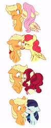 Size: 2273x5705 | Tagged: safe, artist:chub-wub, applejack, cherry jubilee, coloratura, fluttershy, strawberry sunrise, earth pony, pegasus, pony, apple, applejack gets all the mares, applerise, appleshy, bedroom eyes, blushing, boop, cherryjack, cute, eating, eyes closed, eyeshadow, female, flustered, food, freckles, hatless, jackabetes, kiss on the cheek, kissing, lesbian, makeup, mare, missing accessory, noseboop, nuzzling, one eye closed, rarajack, shipping, simple background, white background, wink
