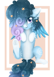 Size: 2480x3508 | Tagged: safe, artist:ekkosan, oc, oc:stellar constellation, pegasus, pony, commission, dock, ear fluff, ethereal mane, female, frog (hoof), hair over one eye, looking at you, lying down, starry mane, stars, two toned wings, underhoof, wings, ych result