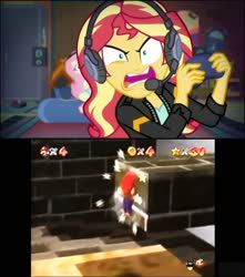 Size: 720x813 | Tagged: safe, edit, screencap, fluttershy, sunset shimmer, equestria girls, equestria girls series, game stream, spoiler:eqg series (season 2), gamer sunset, got milk, mario, meme, nintendo, nintendo 64, rage, sunset gamer, sunset shimmer frustrated at game, super mario 64, super mario bros.
