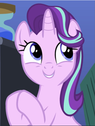 Size: 717x941 | Tagged: safe, screencap, starlight glimmer, pony, unicorn, rock solid friendship, cropped, cute, cutie, excited, female, glimmerbetes, grin, hooves together, looking up, mare, smiling, solo