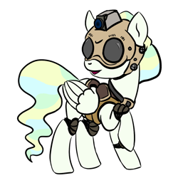 Size: 964x964 | Tagged: safe, artist:velgarn, vapor trail, pegasus, pony, 4chan, art request, body armor, camera, drawthread, female, helmet, knee pads, mare, protective gear, requested art, simple background, solo, white background