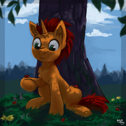 Size: 2000x2000 | Tagged: safe, artist:amy-gamy, oc, oc only, insect, ladybug, pony, unicorn, chest fluff, dappled sunlight, sitting, solo, tree