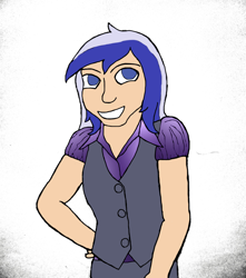 Size: 3120x3536   Tagged: safe, artist:jesterofdestiny, derpibooru exclusive, minuette, human, blouse, clothes, digitally colored, humanized, satin, smiling, solo, traditional art, waistcoat