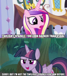 Size: 1280x1440 | Tagged: safe, edit, edited screencap, screencap, mean twilight sparkle, princess cadance, alicorn, pony, princess spike (episode), the mean 6, caption, clone, dialogue, female, image macro, mare, meme, text