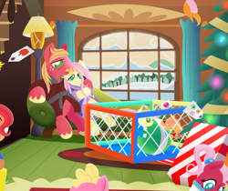 Size: 2232x1872 | Tagged: safe, alternate version, anonymous artist, big macintosh, fluttershy, oc, oc:apple flutter, oc:apple sorbet, oc:crabapple cider, oc:pink lemonade, oc:pink pearl apple, oc:summer breeze, earth pony, pegasus, pony, series:fm holidays, baby, baby pony, bags under eyes, bathrobe, book, christmas, christmas tree, clothes, colt, drool, facial hair, family, female, filly, floating, fluttermac, fluttershy's cottage, footed sleeper, freckles, hearth's warming, holiday, hoof on shoulder, lidded eyes, lineless, looking down, loose hair, male, moustache, no pupils, offscreen character, offspring, older, onesie, pajamas, parent:big macintosh, parent:fluttershy, parents:fluttermac, playpen, pregnant, present, robe, shipping, siblings, snow, straight, tree