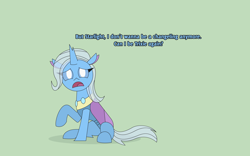 Size: 4136x2589 | Tagged: safe, artist:gd_inuk, trixie, changedling, changeling, changedlingified, changelingified, cute, dialogue, female, green background, high res, implied starlight glimmer, looking at you, open mouth, sad, sadorable, simple background, sitting, species swap, trixieling