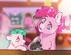 Size: 1113x854 | Tagged: safe, artist:dolliewings, pinkie pie, oc, oc:hanky, earth pony, pony, alternate hairstyle, bad cooking, blaze (coat marking), burnt, cheek fluff, chest fluff, colt, confetti, confetti in mane, cupcake, dappled, duo, female, floppy ears, food, magical lesbian spawn, male, mare, mother and child, mother and son, offspring, parent:fluttershy, parent:pinkie pie, parents:flutterpie, sad, sugarcube corner