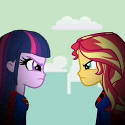 Size: 768x768 | Tagged: safe, sunset shimmer, twilight sparkle, equestria girls, crisis on infinite earths, superman