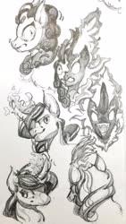 Size: 1828x3232 | Tagged: safe, artist:angusdra, kirin, nirik, pony, unicorn, bust, curved horn, horn, monochrome, sketch, sketch dump, traditional art