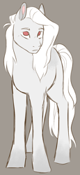 Size: 550x1200   Tagged: safe, artist:dolliewings, edit, oc, oc only, oc:cold front, earth pony, pony, albino, albino pony, blank flank, cropped, dappled, female, frown, looking at you, mare, next generation, no pupils, parent:rainbow dash, solo