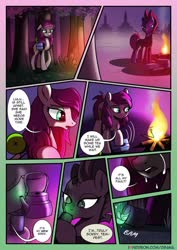 Size: 1024x1449 | Tagged: safe, artist:dsana, tempest shadow, oc, oc:thistledown, earth pony, pony, unicorn, comic:a storm's lullaby, comic, crying